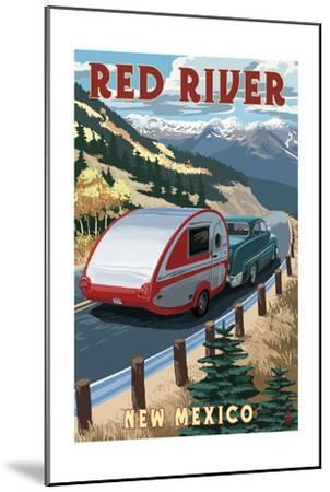 Red River, New Mexico - Fall Retro Camper-Lantern Press-Mounted Art Print