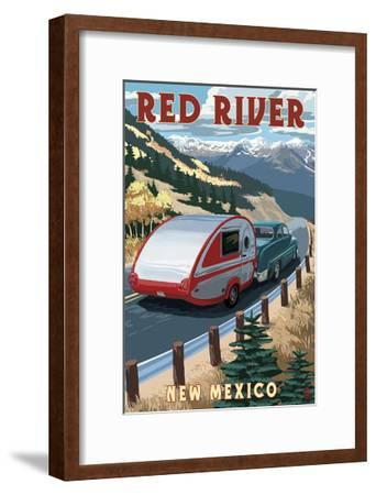 Red River, New Mexico - Fall Retro Camper-Lantern Press-Framed Art Print