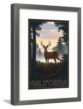 California - Deer and Sunrise-Lantern Press-Framed Art Print