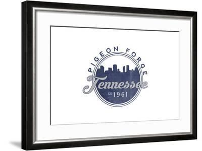 Pigeon Forge, Tennessee - Skyline Seal (Blue)-Lantern Press-Framed Art Print