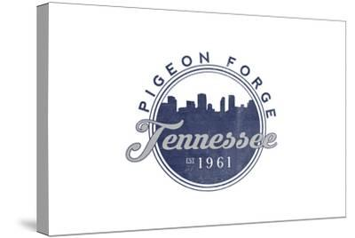 Pigeon Forge, Tennessee - Skyline Seal (Blue)-Lantern Press-Stretched Canvas Print