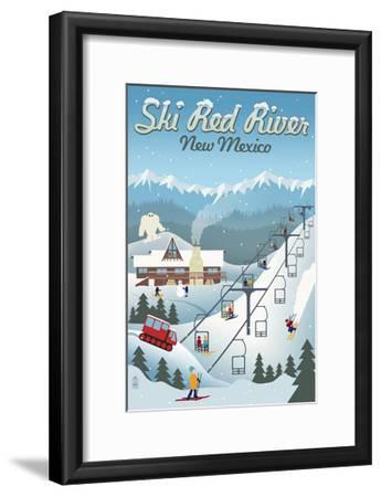 Red River, New Mexico - Retro Ski Resort-Lantern Press-Framed Art Print