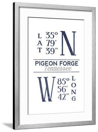 Pigeon Forge, Tennessee - Latitude and Longitude (Blue)-Lantern Press-Framed Art Print