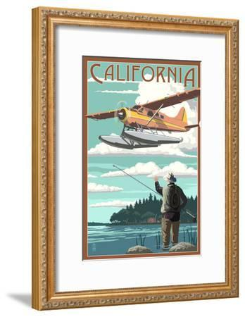 California - Float Plane and Fisherman-Lantern Press-Framed Art Print