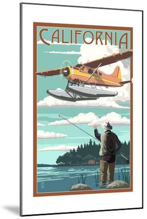 California - Float Plane and Fisherman-Lantern Press-Mounted Art Print