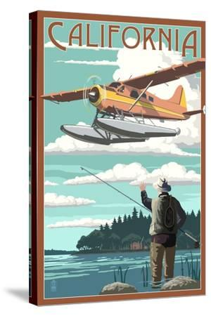 California - Float Plane and Fisherman-Lantern Press-Stretched Canvas Print
