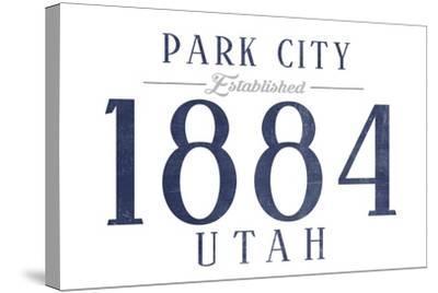 Park City, Utah - Established Date (Blue)-Lantern Press-Stretched Canvas Print