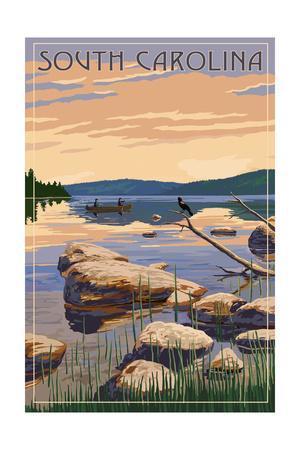 South Carolina - Lake Sunrise Scene-Lantern Press-Framed Art Print