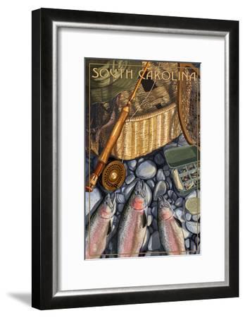 South Carolina - Fishing Still Life-Lantern Press-Framed Art Print