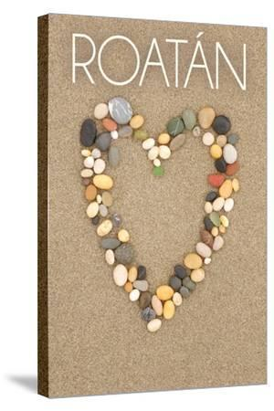 Roatan - Stone Heart on Sand-Lantern Press-Stretched Canvas Print