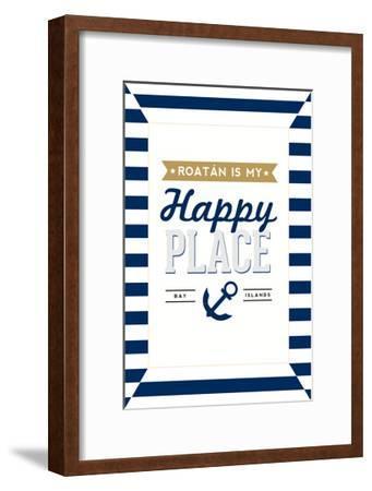 Roatan is my Happy Place - Stripes-Lantern Press-Framed Art Print