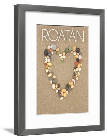 Roatan - Stone Heart on Sand-Lantern Press-Framed Art Print