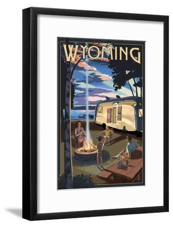 Wyoming - Retro Camper and Lake-Lantern Press-Framed Art Print