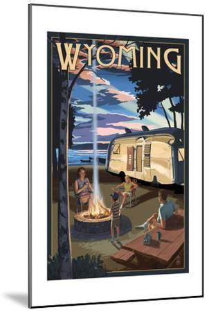 Wyoming - Retro Camper and Lake-Lantern Press-Mounted Art Print