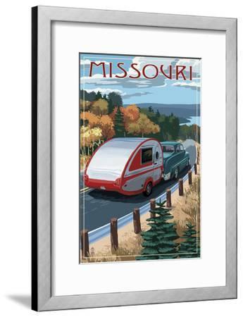 Missouri - Retro Camper on Road-Lantern Press-Framed Art Print