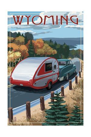 Wyoming - Retro Camper on Road-Lantern Press-Framed Art Print