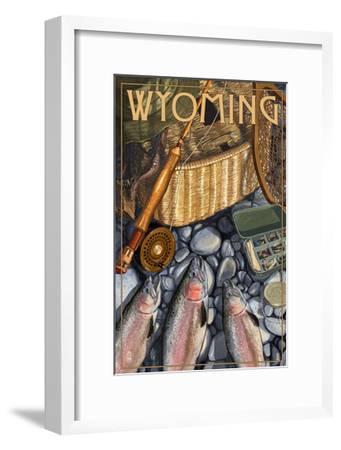 Wyoming - Fishing Still Life-Lantern Press-Framed Art Print