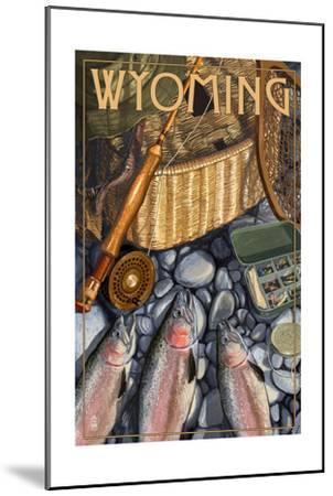 Wyoming - Fishing Still Life-Lantern Press-Mounted Art Print