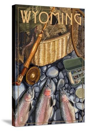 Wyoming - Fishing Still Life-Lantern Press-Stretched Canvas Print