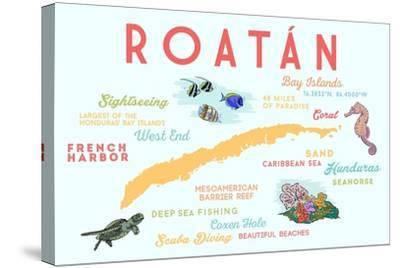 Roatan - Typography and Icons-Lantern Press-Stretched Canvas Print