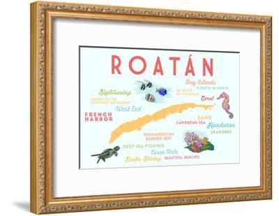 Roatan - Typography and Icons-Lantern Press-Framed Art Print