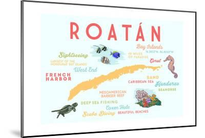 Roatan - Typography and Icons-Lantern Press-Mounted Art Print