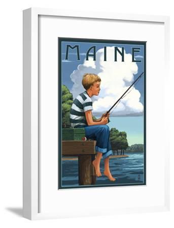 Maine - Boy Fishing-Lantern Press-Framed Art Print