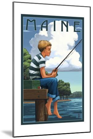 Maine - Boy Fishing-Lantern Press-Mounted Art Print
