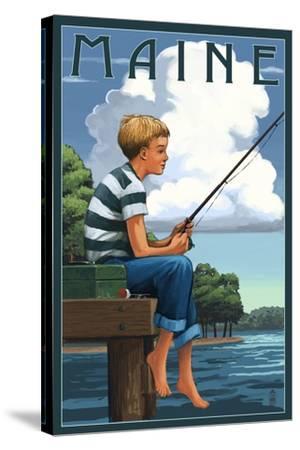 Maine - Boy Fishing-Lantern Press-Stretched Canvas Print