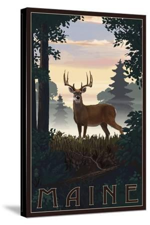 Maine - Deer and Sunrise-Lantern Press-Stretched Canvas Print