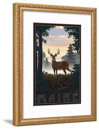 Maine - Deer and Sunrise-Lantern Press-Framed Art Print