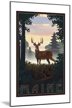 Maine - Deer and Sunrise-Lantern Press-Mounted Art Print