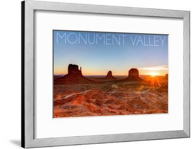 Monument Valley, Utah - Three Peeks and Sun-Lantern Press-Framed Art Print