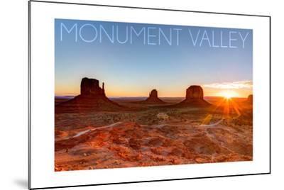 Monument Valley, Utah - Three Peeks and Sun-Lantern Press-Mounted Art Print