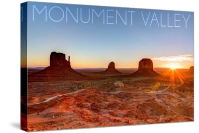Monument Valley, Utah - Three Peeks and Sun-Lantern Press-Stretched Canvas Print