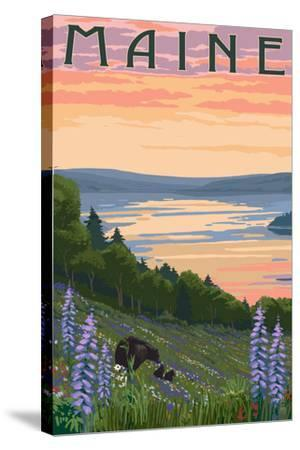 Maine - Lake and Bear Family-Lantern Press-Stretched Canvas Print