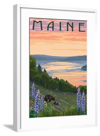 Maine - Lake and Bear Family-Lantern Press-Framed Art Print