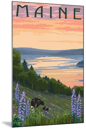 Maine - Lake and Bear Family-Lantern Press-Mounted Art Print