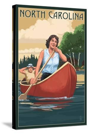 North Carolina - Canoers on Lake-Lantern Press-Stretched Canvas Print