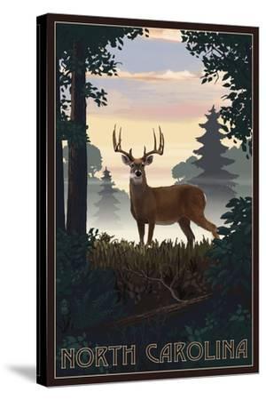 North Carolina - Deer and Sunrise-Lantern Press-Stretched Canvas Print
