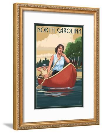 North Carolina - Canoers on Lake-Lantern Press-Framed Art Print