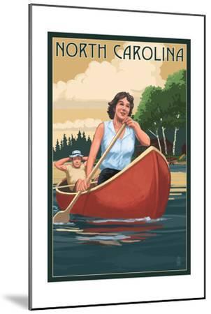 North Carolina - Canoers on Lake-Lantern Press-Mounted Art Print