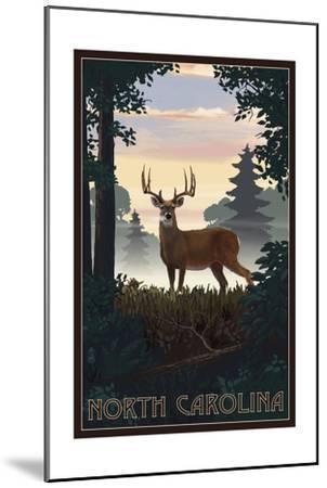 North Carolina - Deer and Sunrise-Lantern Press-Mounted Art Print
