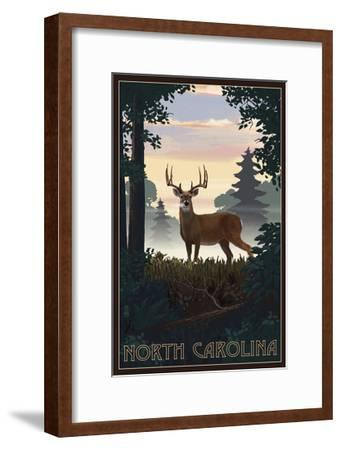 North Carolina - Deer and Sunrise-Lantern Press-Framed Art Print