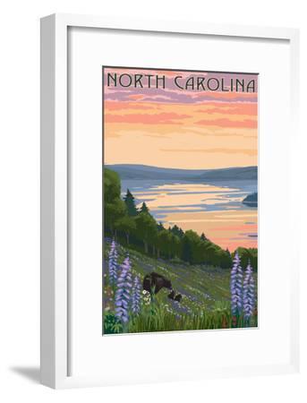 North Carolina - Lake and Bear Family-Lantern Press-Framed Art Print