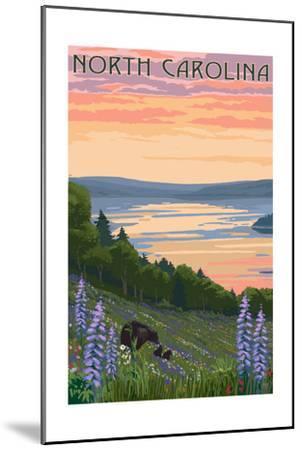 North Carolina - Lake and Bear Family-Lantern Press-Mounted Art Print