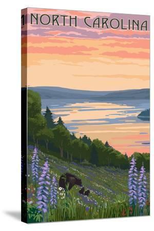 North Carolina - Lake and Bear Family-Lantern Press-Stretched Canvas Print