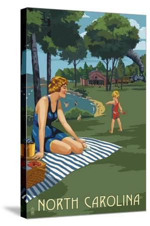 North Carolina - Lake and Picnic Scene-Lantern Press-Stretched Canvas Print