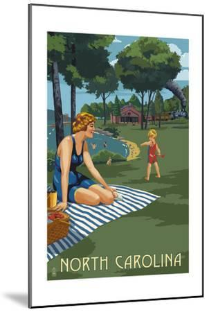 North Carolina - Lake and Picnic Scene-Lantern Press-Mounted Art Print