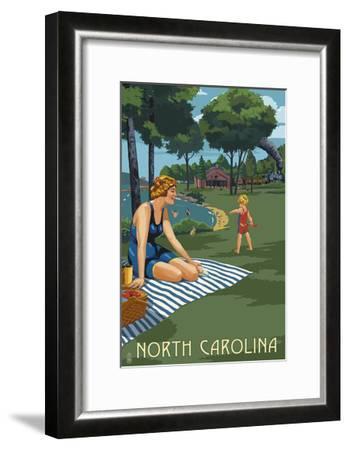North Carolina - Lake and Picnic Scene-Lantern Press-Framed Art Print